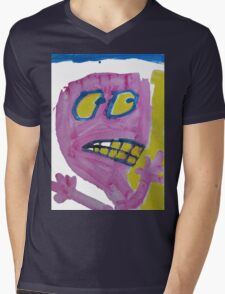 Toby - Pink Graphic Face Mens V-Neck T-Shirt