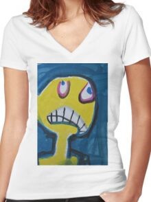 Troy - Graphic Yellow Face With Blue Background Women's Fitted V-Neck T-Shirt