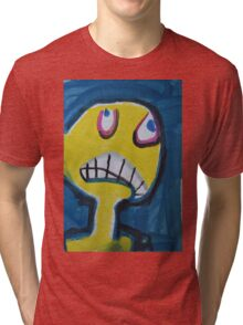 Troy - Graphic Yellow Face With Blue Background Tri-blend T-Shirt