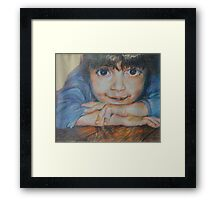 Pensive - A Portrait Of A Boy Framed Print