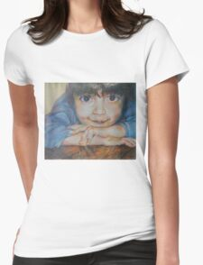 Pensive - A Portrait Of A Boy Womens Fitted T-Shirt