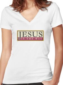 """Christian """"Jesus Is The Way"""" Women's Fitted V-Neck T-Shirt"""