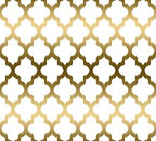 Gold And White Ikat Quatrefoil Geometric Pattern by artonwear