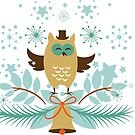 Cute Christmas Owl And Gold  Christmas Bell by artonwear