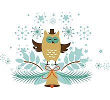 Cute Christmas Owl And Gold  Christmas Bell Photographic Print
