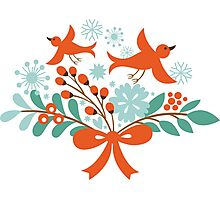 Cute Christmas Birds And Christmas Wreath Photographic Print