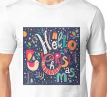 Colorful Retro Hello Christmas Text Design Unisex T-Shirt