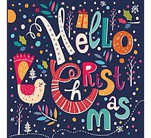 Colorful Retro Hello Christmas Text Design Photographic Print