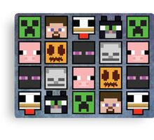 Minecraft Faces Pattern Canvas Print