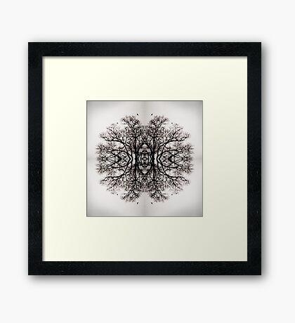 Winter Storm Tree Ink Blot Framed Print
