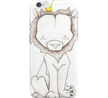Grey Lion and Yellow Crown iPhone Case/Skin