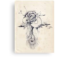 Dreams, Wonders and Beauty - Peacock Dreamcatcher with Roses and Crystals Canvas Print