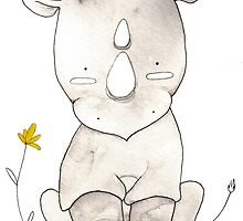 Grey Rhino and Yellow Flower by aheartofwhimsy