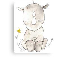 Grey Rhino and Yellow Flower Canvas Print