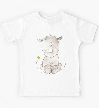Grey Rhino and Yellow Flower Kids Tee