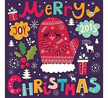 Colorful Retro Christmas Knit And Text Design Photographic Print