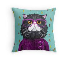 Cat's New Autumn Coat Throw Pillow