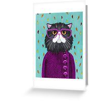Cat's New Autumn Coat Greeting Card