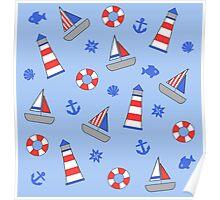 Nautical Theme Sailor Pattern Poster