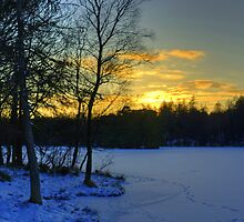 Winter Sunset At High Dam by Jamie  Green