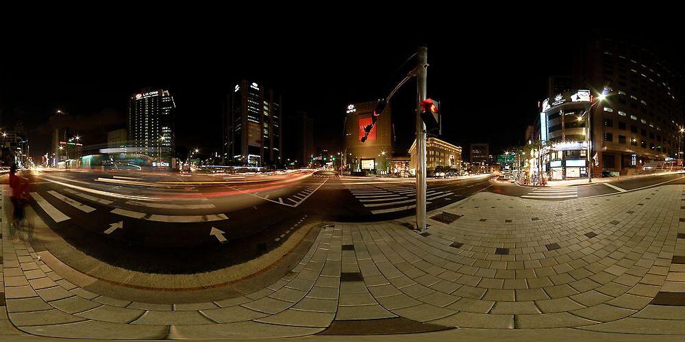 Toegyero & Banpo-ro intersection at night 360° pano by DavidKennard