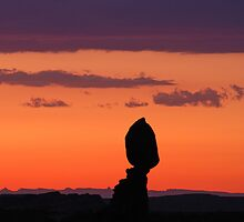 Balanced Rock at Sunset by J. Day