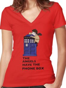 Castiel Has The Phone Box Women's Fitted V-Neck T-Shirt