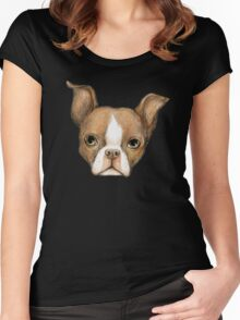 Brown Boston Terrier Women's Fitted Scoop T-Shirt