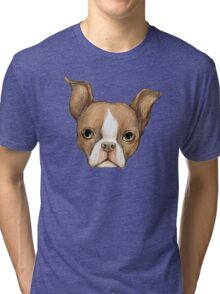 Brown Boston Terrier Tri-blend T-Shirt