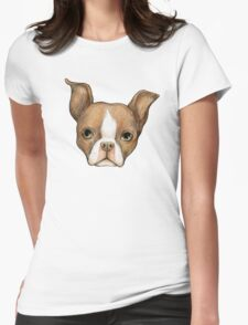 Brown Boston Terrier Womens Fitted T-Shirt