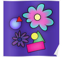 RETRO-Vibrant 80s Abstract Shapes & Flowers Poster