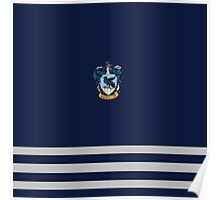 Ravenclaw Pride Colours with crest - Blue and Silver Poster