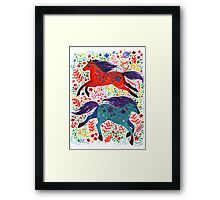 A Horse of Red and Blue Framed Print