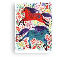 A Horse of Red and Blue Canvas Print