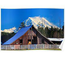Mount Rainier and Barn Poster