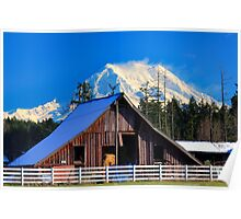 Mount Rainier and Barn Poster