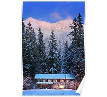 Mount Rainier winter evening Poster