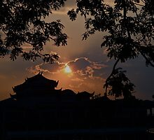 PAGODA SUNSET SILHOUETTE! by NICK COBURN PHILLIPS