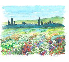 ITALIAN DOLOMITES - WATERCOLOR DRAWING by RainbowArt