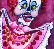 Dancing Calavera in Pink Heart Skirt by Candace Byington