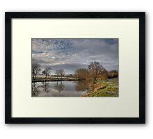 Winter walk along the river Medway at Teston Kent England Framed Print