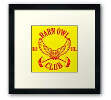 Barn Owl Barbell Club Red Framed Print
