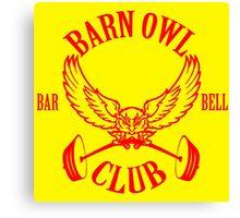 Barn Owl Barbell Club Red Canvas Print