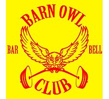 Barn Owl Barbell Club Red Photographic Print