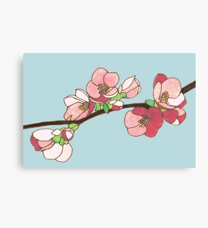 Pink on Blue Blossoms Canvas Print
