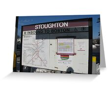 Stoughton's T map and Commuter Rail Schedule at Station Greeting Card