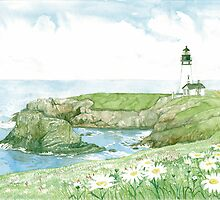 Yaquina Head Lighthouse on Oregon's Pacific Coast by clotheslineart