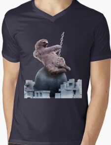 Wrecking Ball Sloth Mens V-Neck T-Shirt