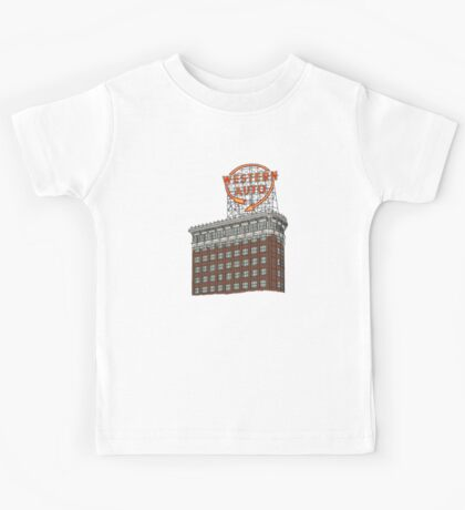 Hand Drawn Kansas City Western Auto Building Kids Tee