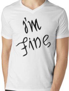 IM FINE / SAVE ME Depression anxiety awareness  Mens V-Neck T-Shirt
